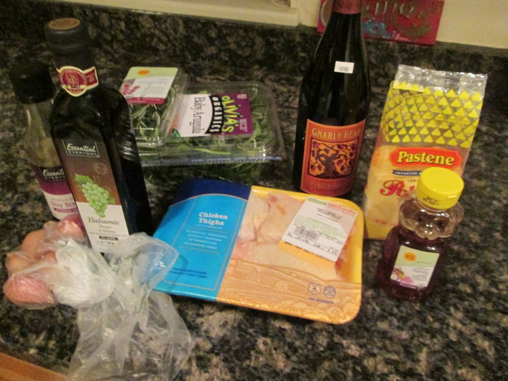 notice the wine.  Not essential for the recipe, but essential for my sanity.