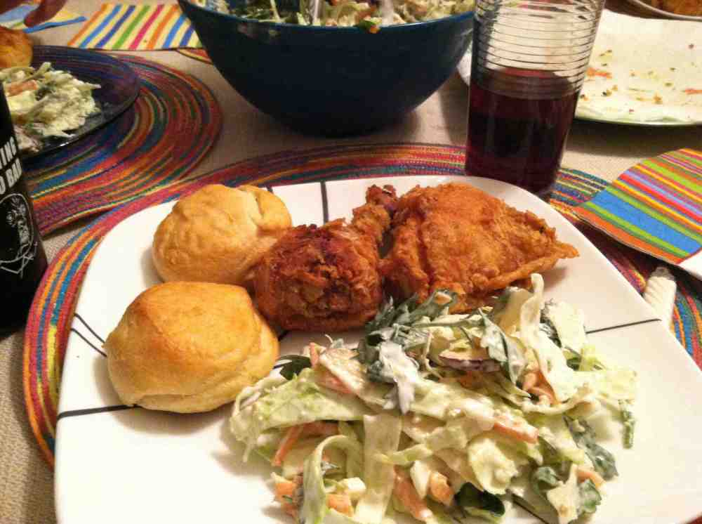 pictured here with some fried chicken and biscuits.  Home cooking at is best.